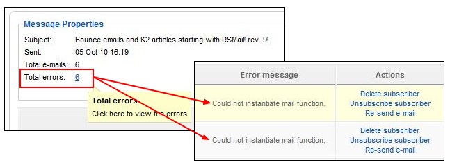 RSMail! error report when sending the newsletter