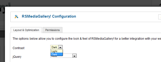 RSMediaGallery! - Contrast Configuration