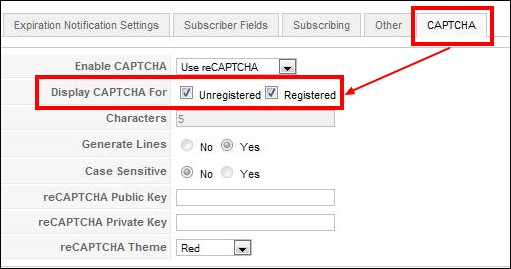 RSMembership! captcha support for registered/unregistered users