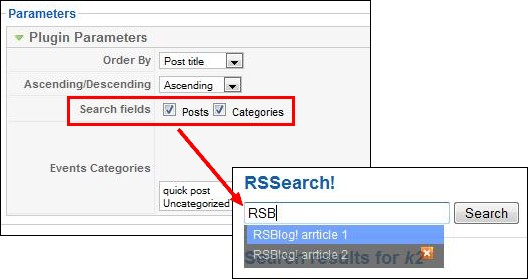 search Joomla! blog articles in RSBlog!