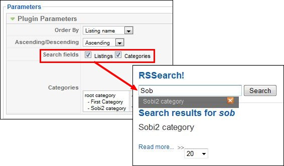 search Sobi2 categories and listings with RSSearch!