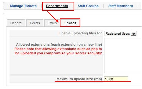 RSTickets!Pro limit file upload for each department