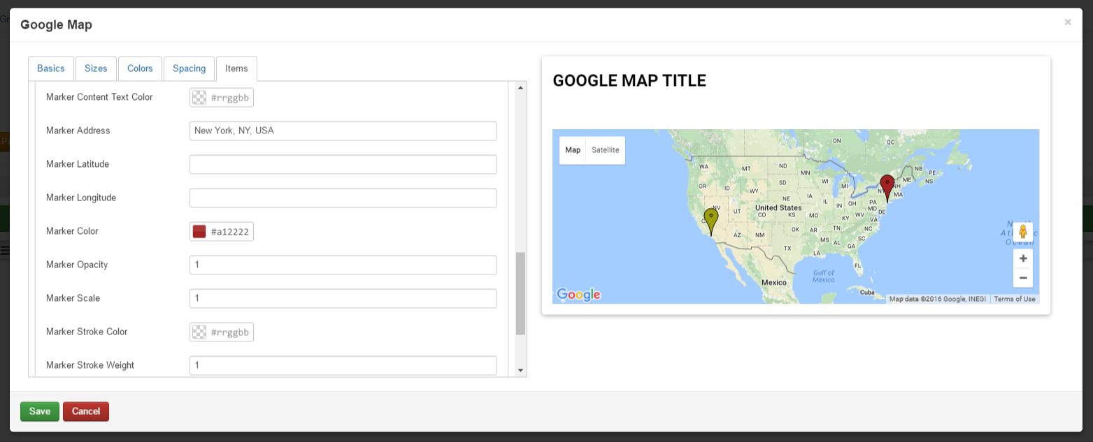RSPageBuilder! Google Map