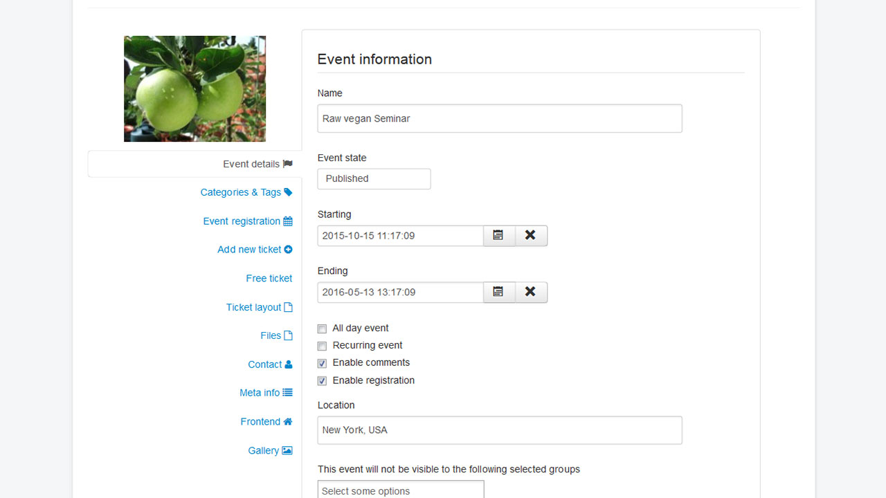 Add events in the frontend
