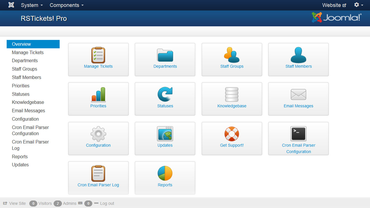 Main dashboard of the Joomla ticketing system – RSTicketsPro!