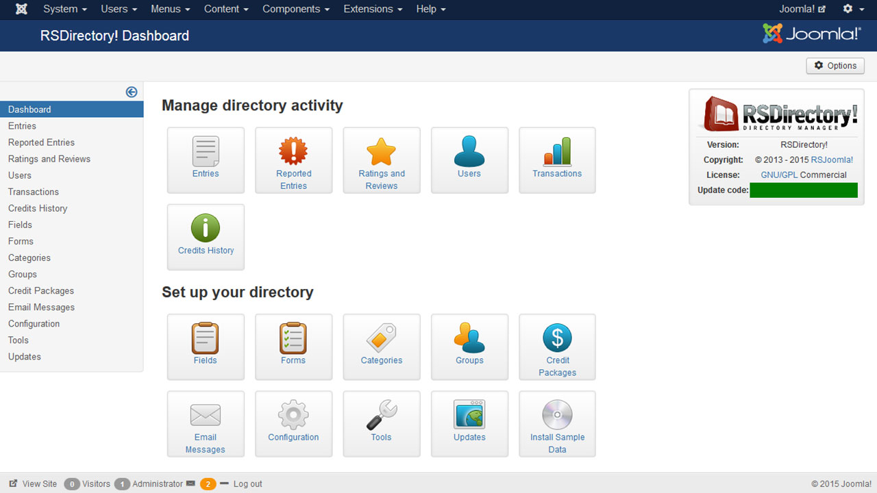 Overview screenshot of RSDirectory!