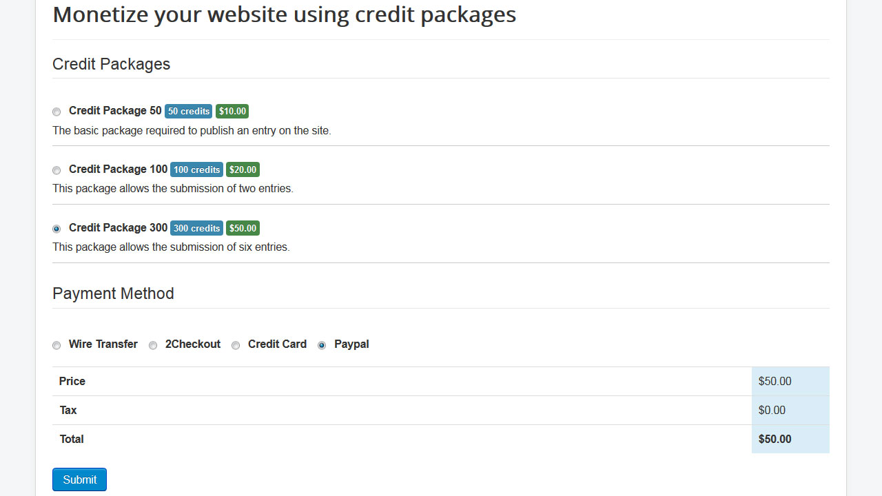 Monetize your website through credit packages