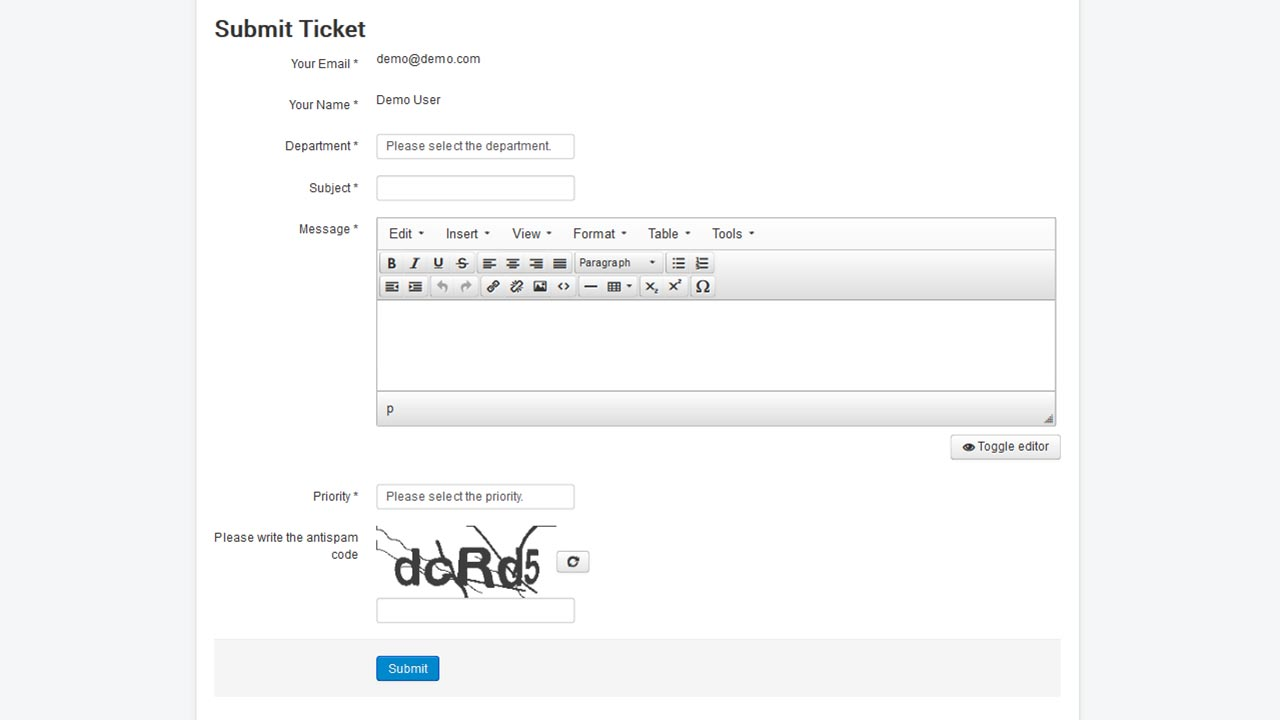 Submitting a ticket on Joomla! using RSTickets!Pro