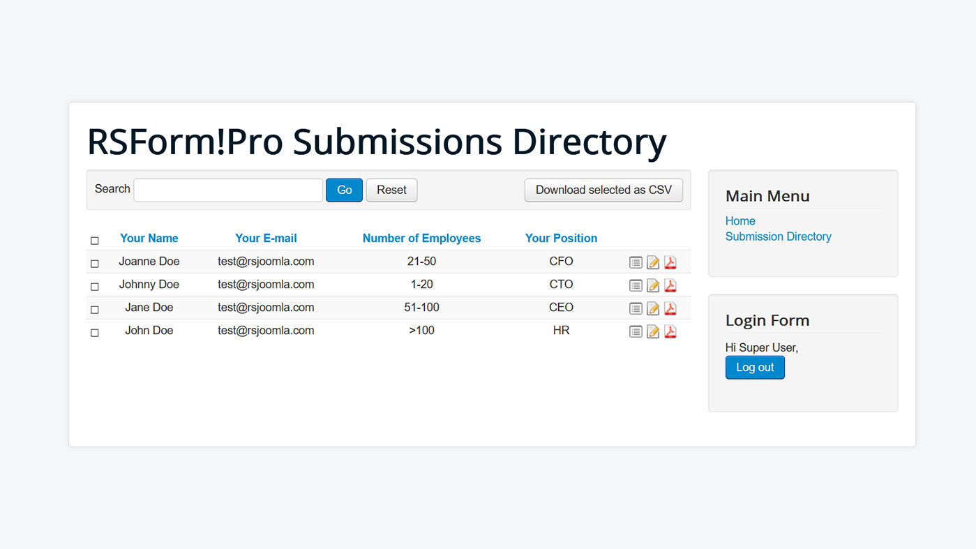 Edit submissions with the Submissions Directory layout
