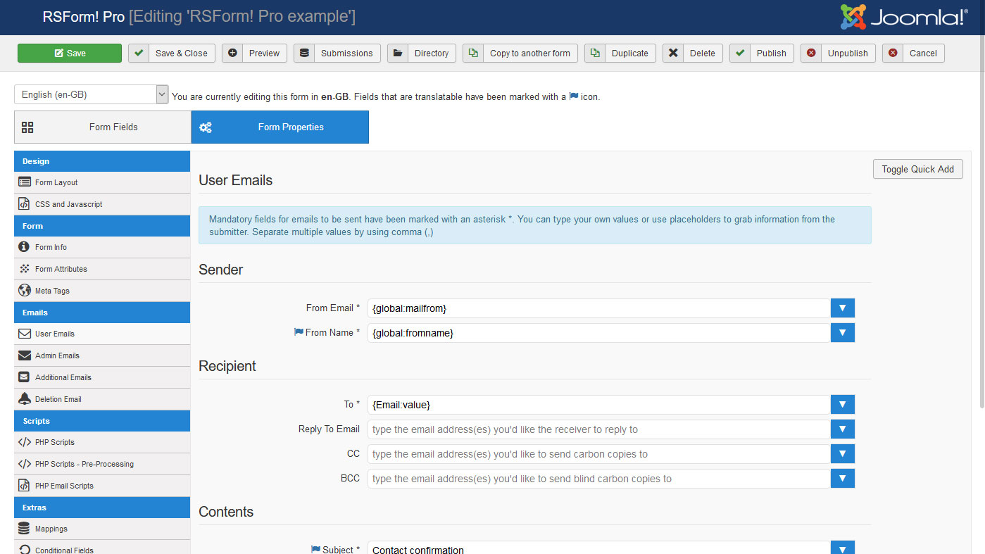 Configure component specific emails