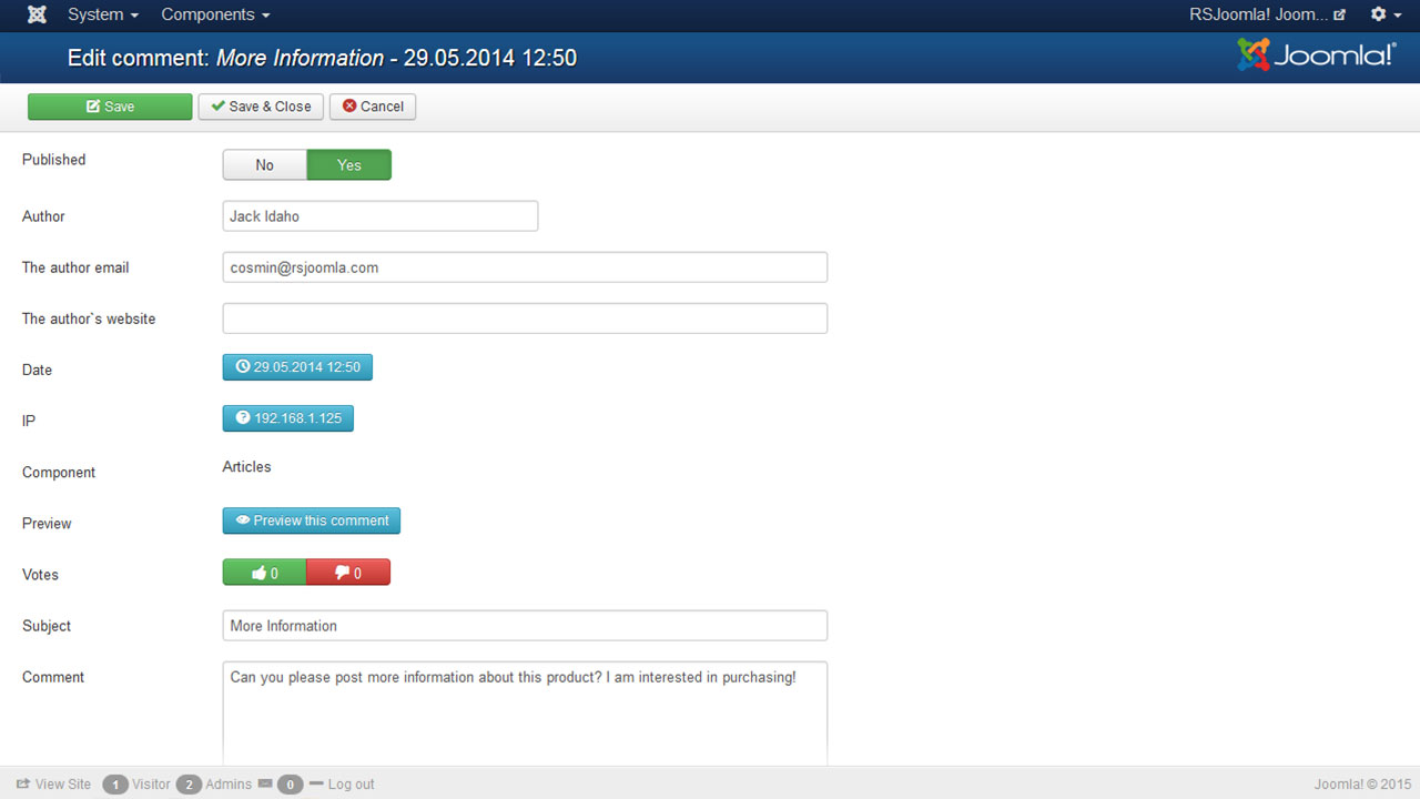 Editing a comment in a Joomla commenting system - RSComments