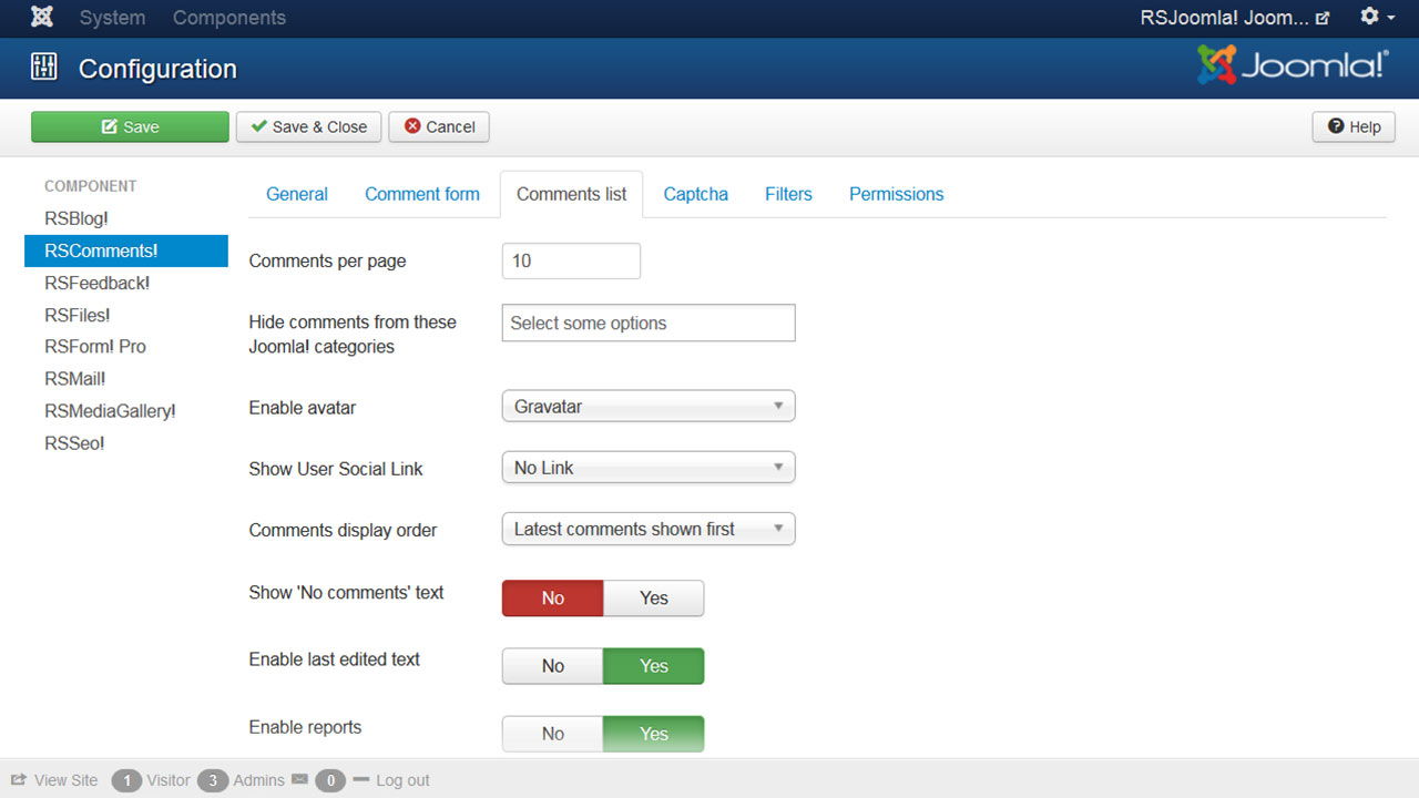 Configuring section of a Joomla comment system from RSJoomla