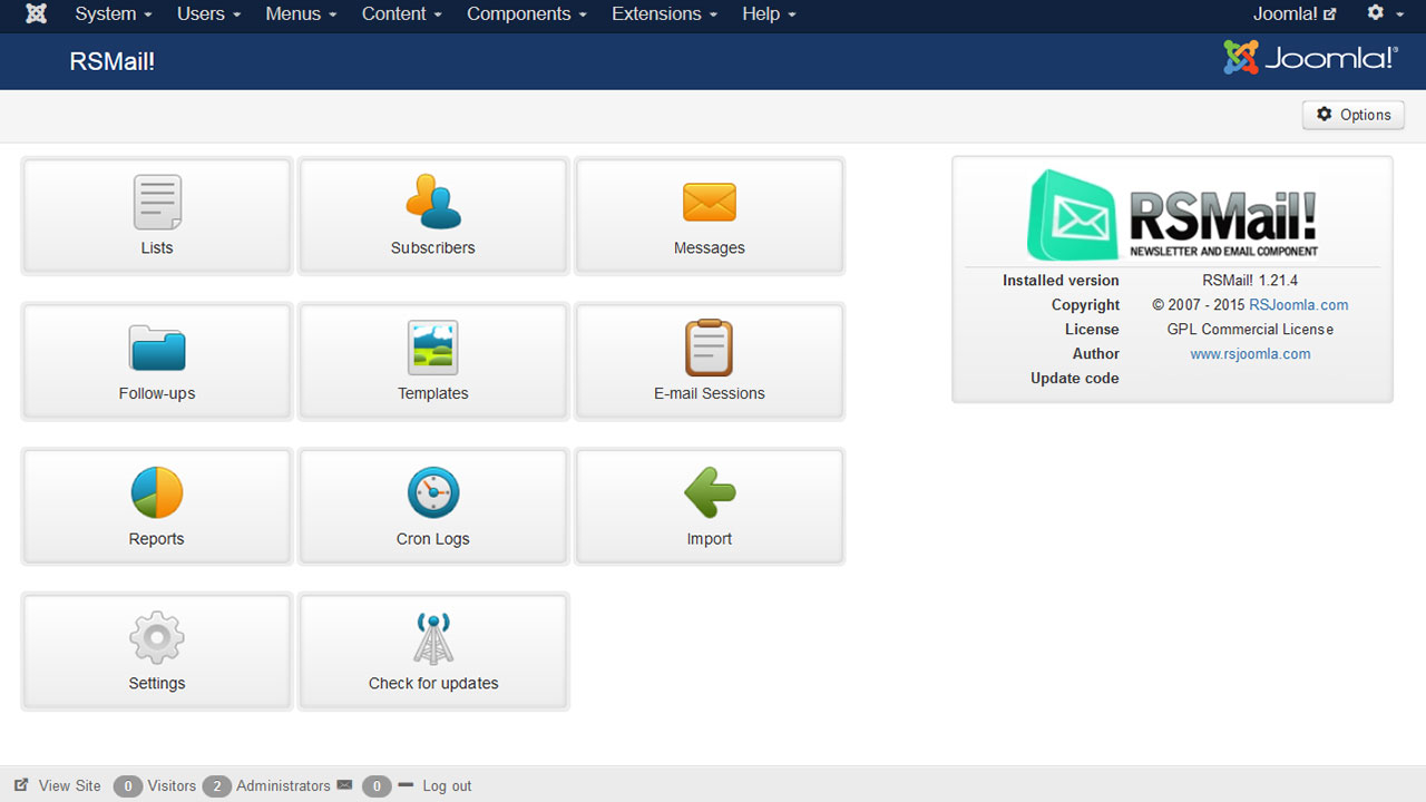 Dashboard view of Joomla newsletter and email extension
