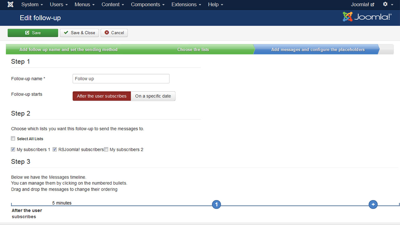 Setting up of Follow-ups (Autoresponders) for Joomla emails