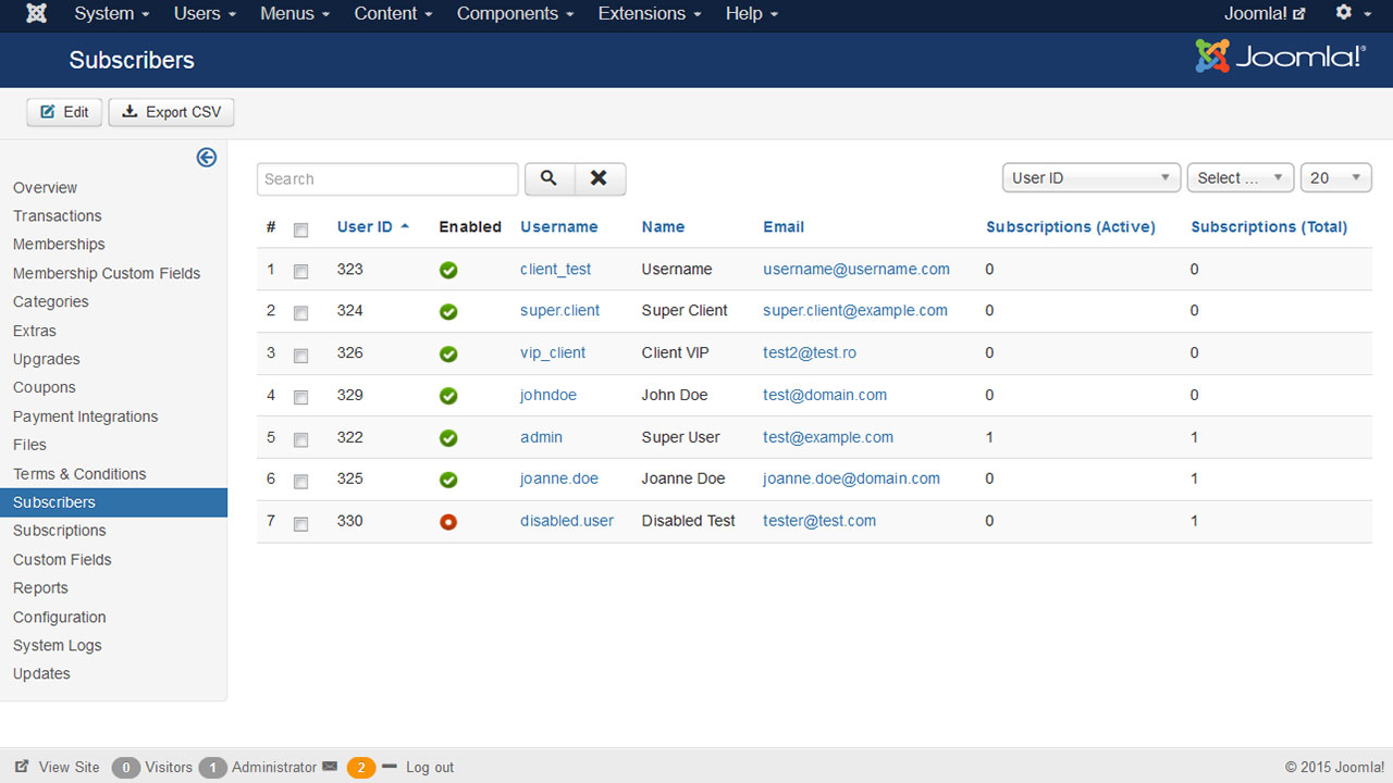 Joomla subscription manager from RSJoomla!