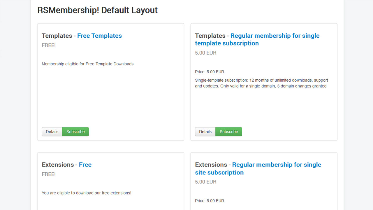 Joomla Membership listing on RSMembership!