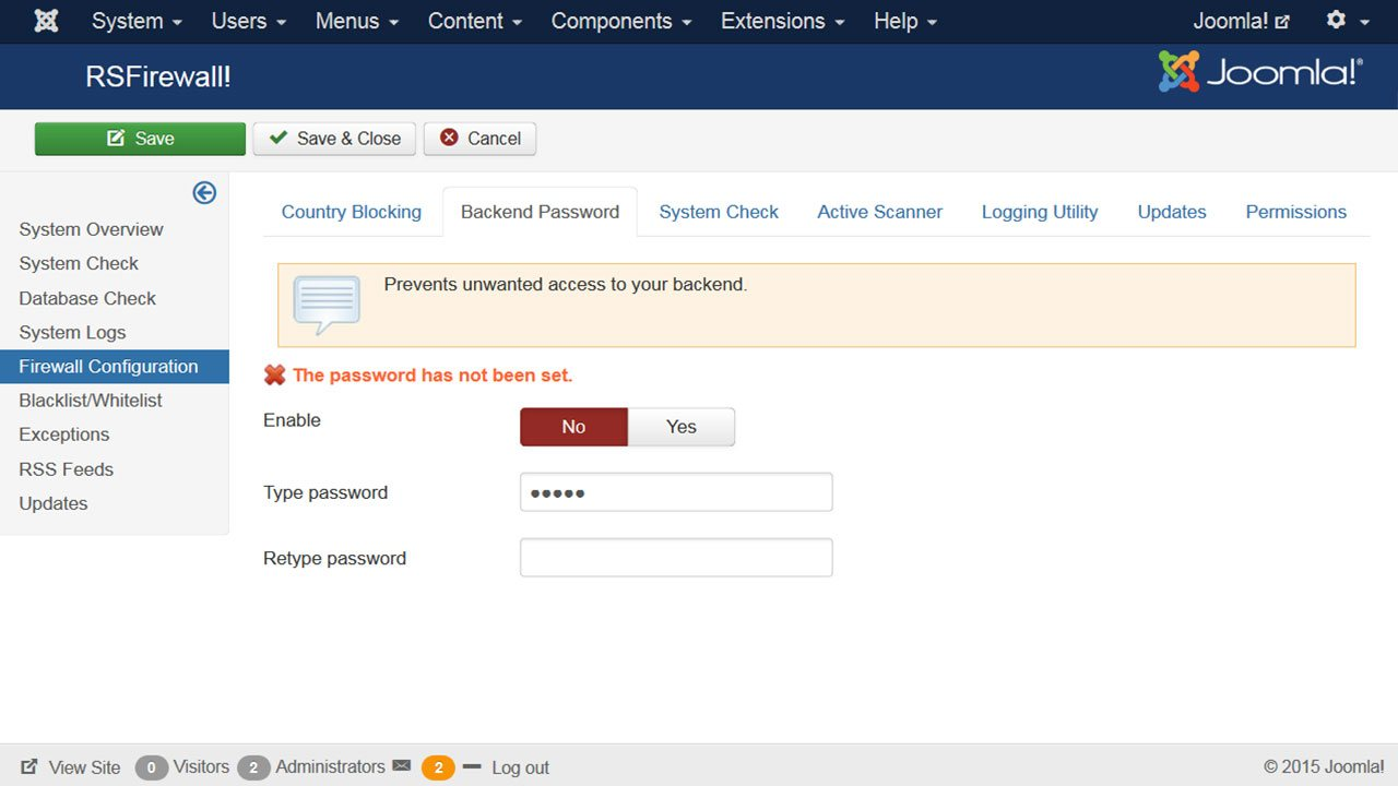 Additional back-end password setup screenshot of RSFirewall!