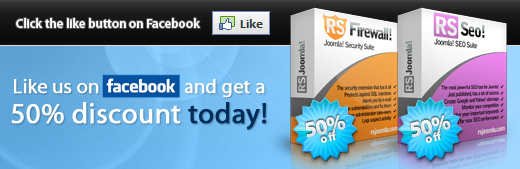 50% for RSFirewall! and RSSeo!