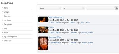 RSEvents!Pro list events menu item