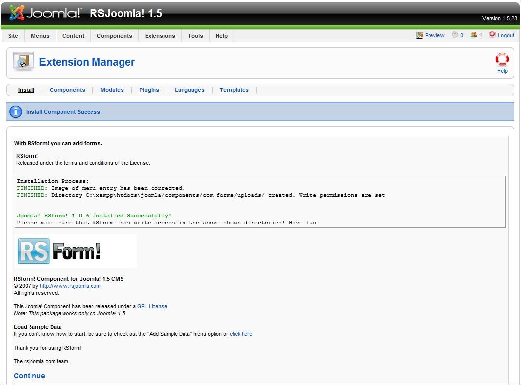 rsform performing a new installation rh rsjoomla com Joomla Examples Joomla Development