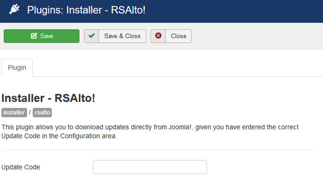 Insert your license code to Installer Plugin RSAlto!