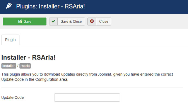 Insert your license code to Installer Plugin RSAria!