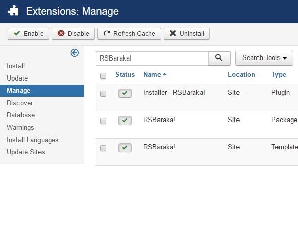 Uninstalling RSBaraka! - Select RSBaraka! Package and click uninstall