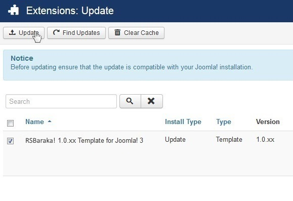 Select RSBaraka! 1.0.xx Template for Joomla! 3 and Update