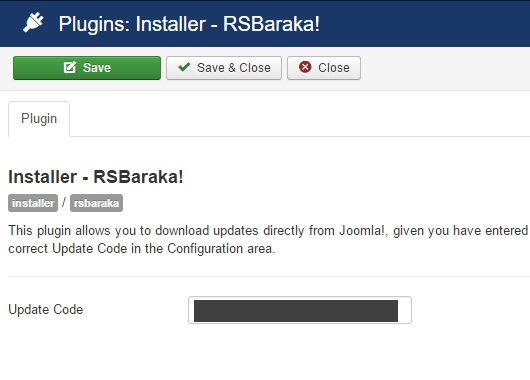 Insert your license code to Installer Plugin RSBaraka!