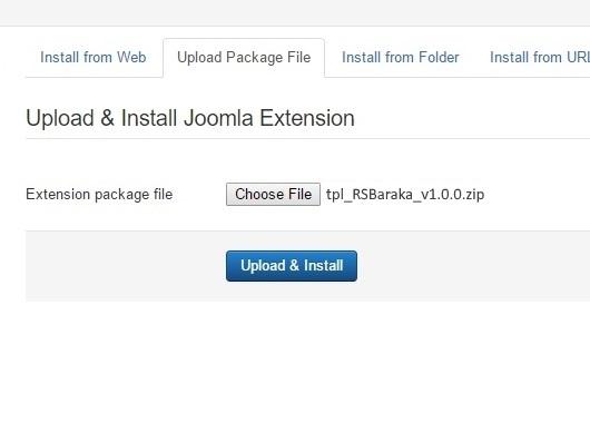 Installing RSBaraka! 3.x Joomla! template Step 3