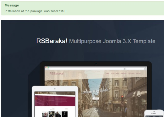 Installing RSBaraka! 3.x Joomla! template Step 4