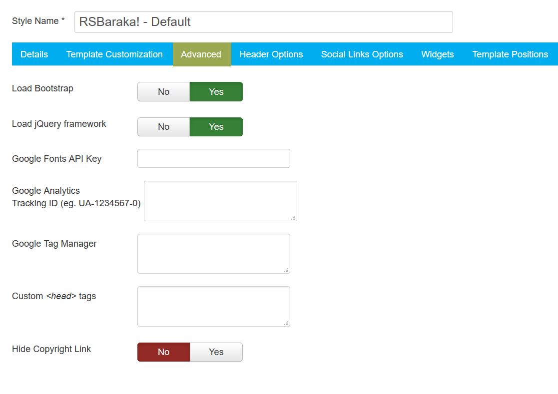 RSBaraka! Joomla! 3.x template Logo Options Tab preview
