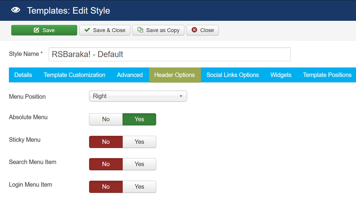 RSBaraka! Joomla! 3.x template Header Options Tab preview