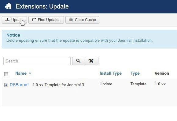 Select RSBaron! 1.0.xx Template for Joomla! 3 and Update
