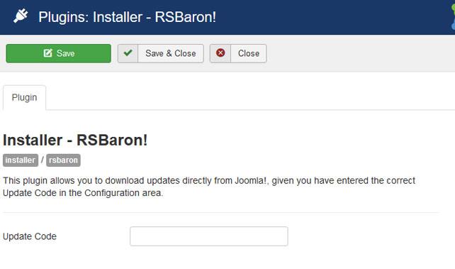 Insert your license code to Installer Plugin RSBaron!