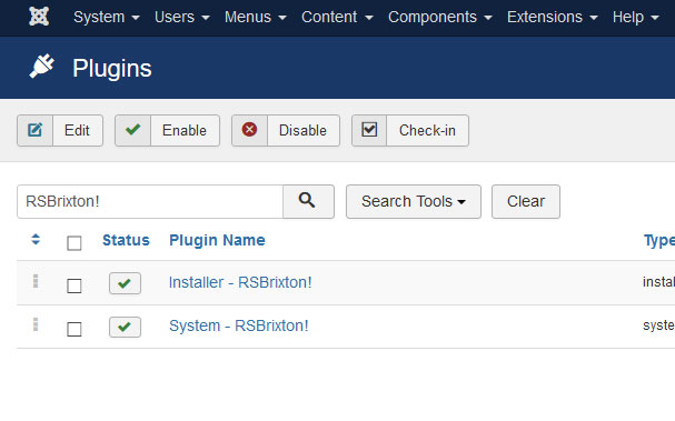 Go to Installer Plugin RSBrixton!