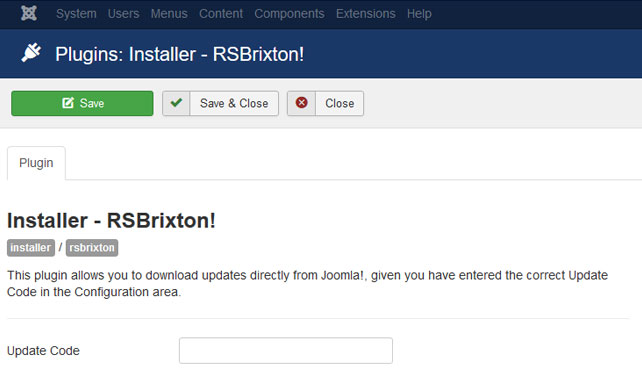 Insert your license code to Installer Plugin RSBrixton!