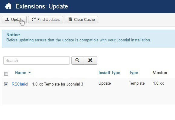 Select RSClario! 1.0.xx Template for Joomla! 3 and Update