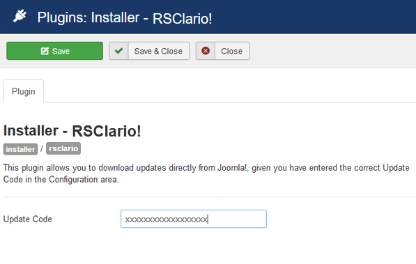 Insert your license code to Installer Plugin RSClario!