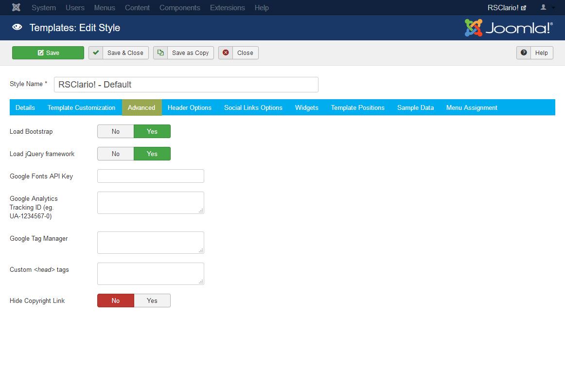 RSClario! Joomla! 3.x template Logo Options Tab preview