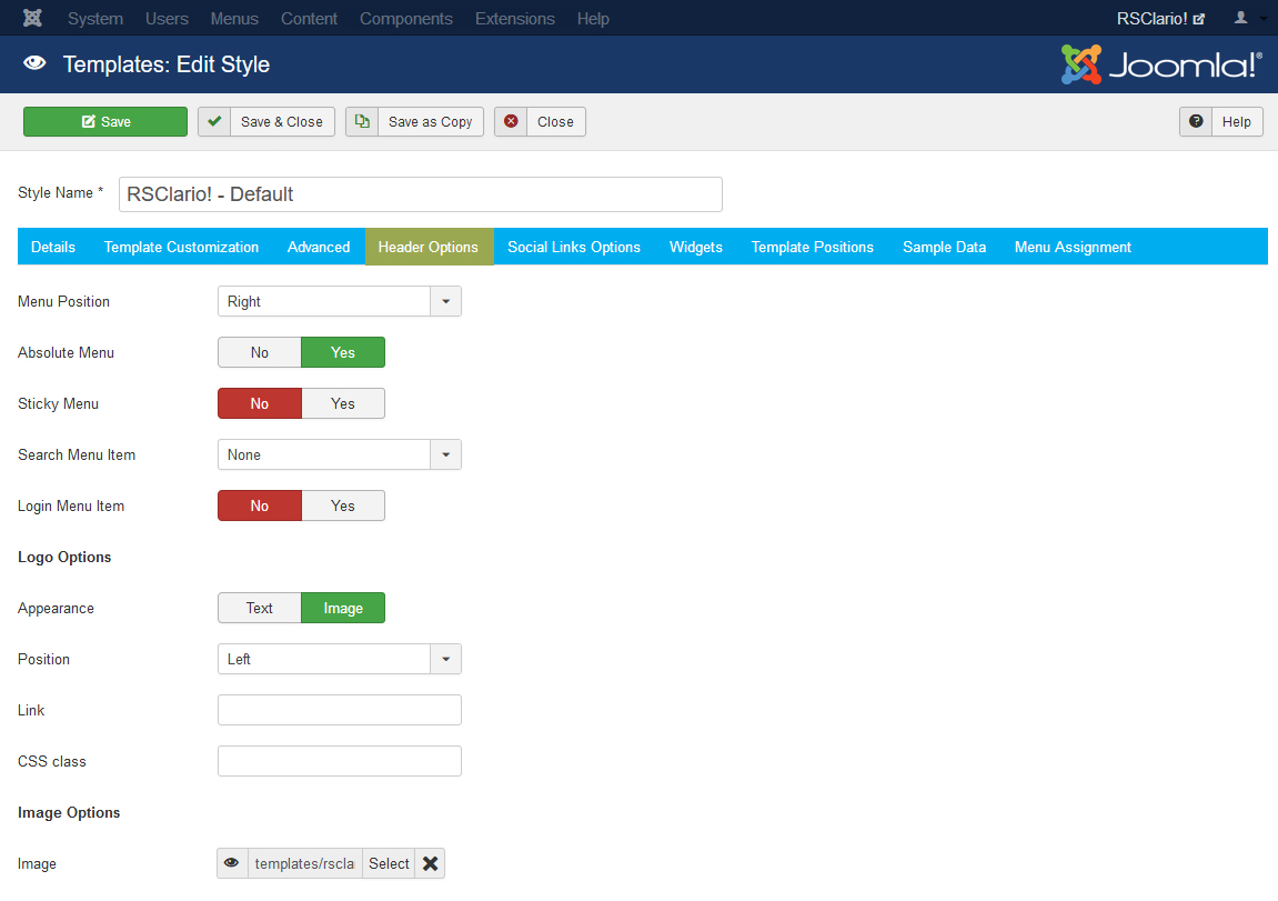 RSClario! Joomla! 3.x template Header Options Tab preview