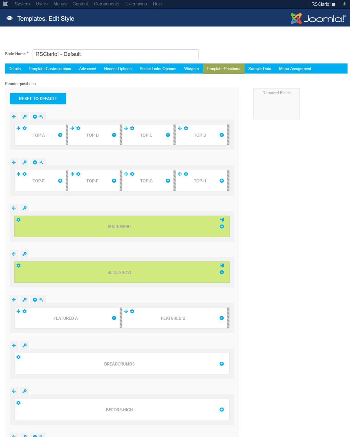 RSClario! Joomla! 3.x template Template Positions Tab preview