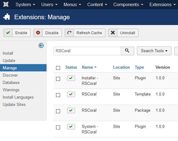 Uninstalling RSCora! - Select RSCora! Package and click uninstall