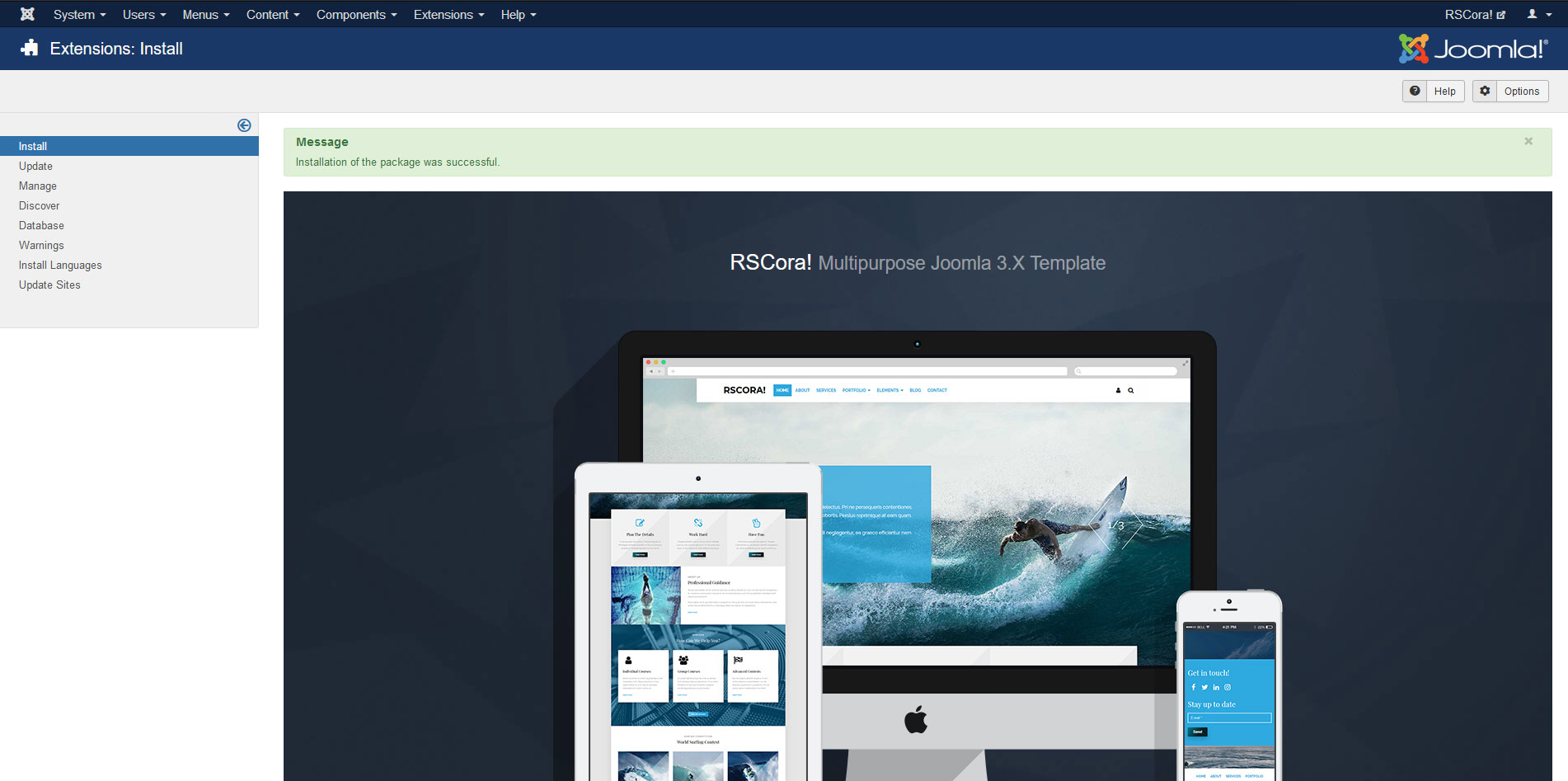Installing RSCora! 3.x Joomla! template Step 4