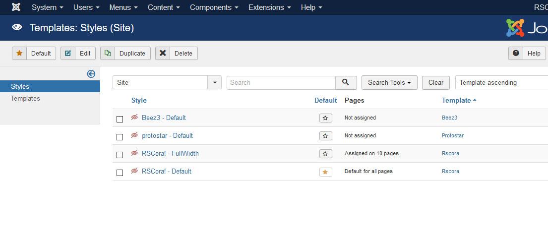 Installing RSCora! 3.x Joomla! template Step 5