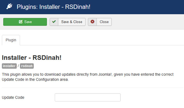 Insert your license code to Installer Plugin RSDinah!