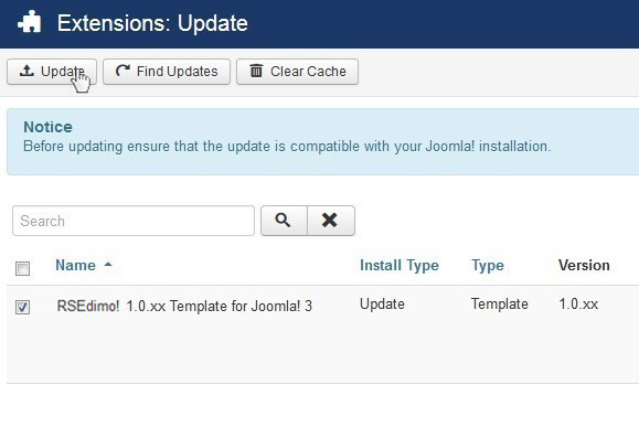 Select RSEdimo! 1.0.xx Template for Joomla! 3 and Update