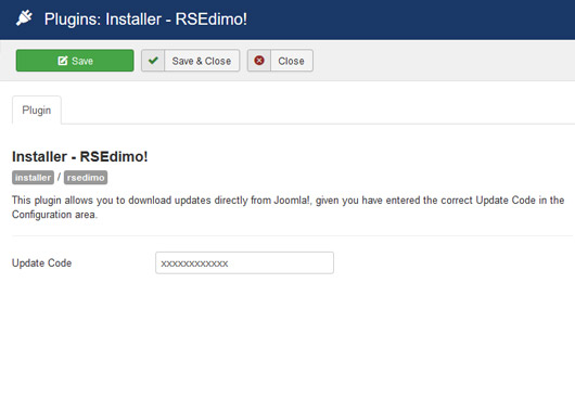 Insert your license code to Installer Plugin RSEdimo!