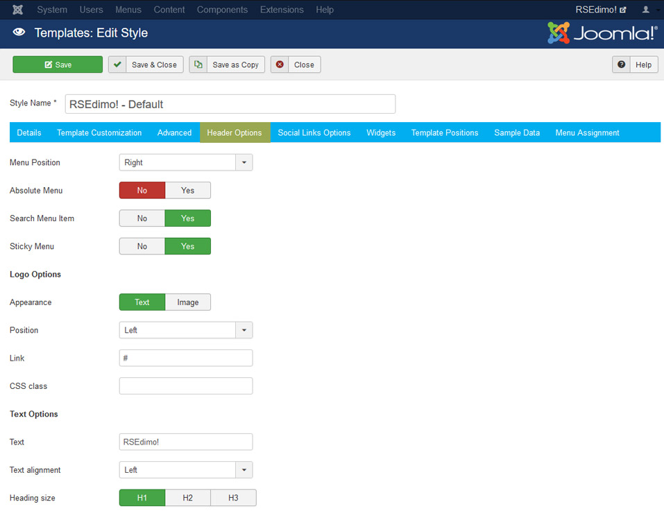 RSEdimo! Joomla! 3.x template Header Options Tab preview