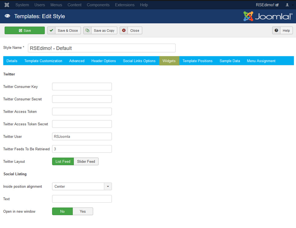 RSEdimo! Joomla! 3.x template Widgets Tab preview